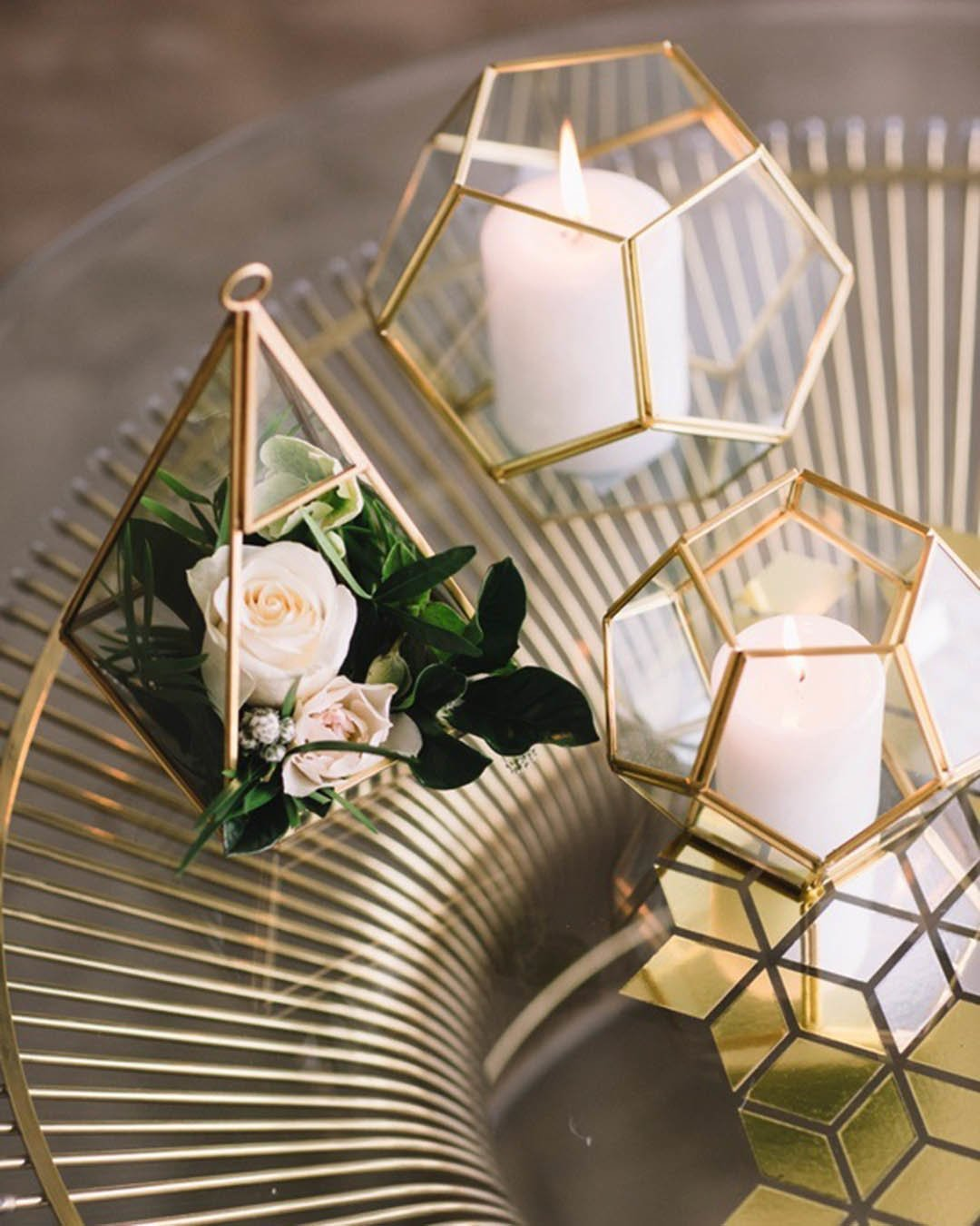 wedding trends metallic decor candles