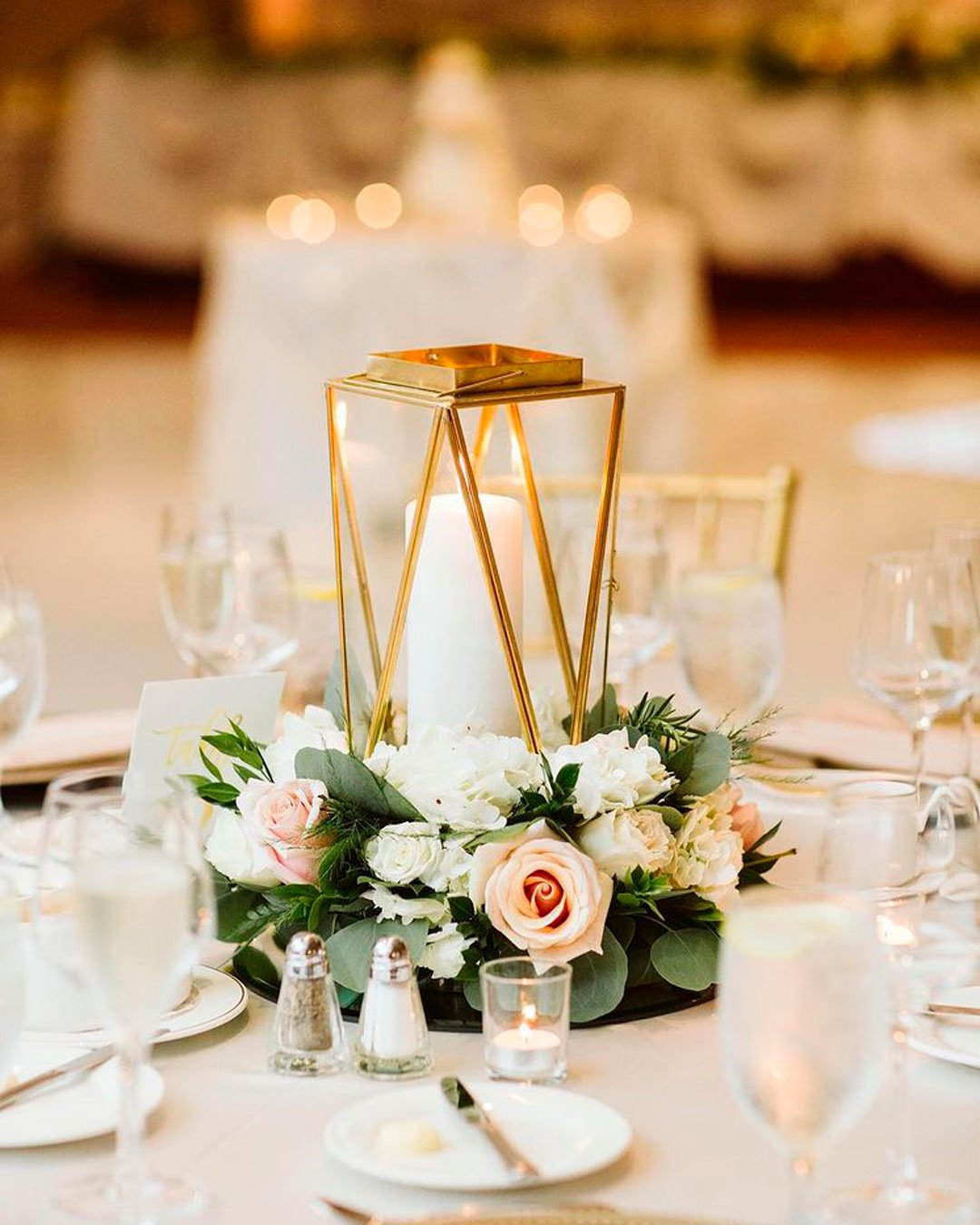 wedding trends table decor geometric centerpiece