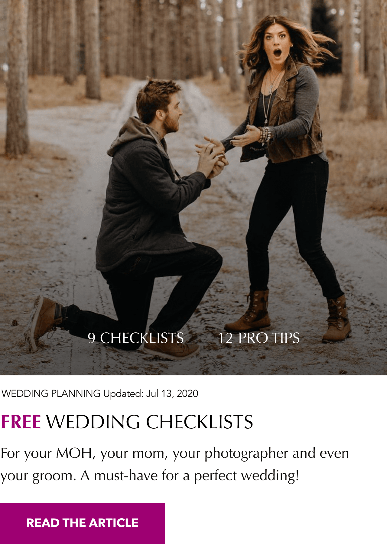 engaged couple wedding checklists banner