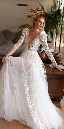 long sleeve wedding dresses a line plunging neckline sexy neta dover