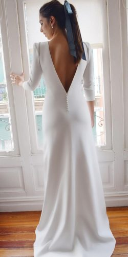 long sleeve wedding dresses sheath v back simple alicia rue da