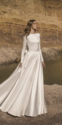 modest wedding dresses a line simple with long sleeves pnina tornai