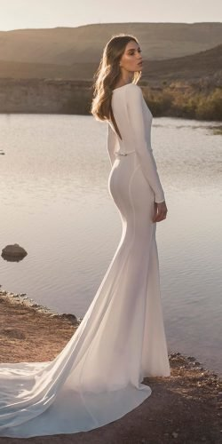 modest wedding dresses fit and flare with long sleeves simple train pninatornai