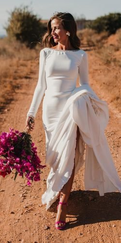 modest wedding dresses sheath simple with long sleeves modest country pronovias