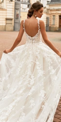 moonlight wedding dresses a line low back with spaghetti straps beach