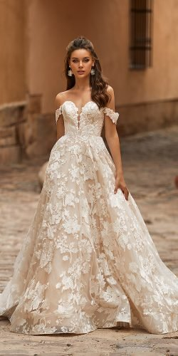 moonlight wedding dresses a line off the shoulder lace sweetheart neckline