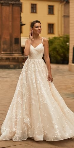 moonlight wedding dresses a line with spaghetti straps summer