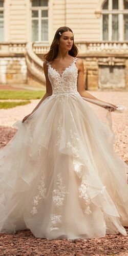 moonlight wedding dresses ball gown sweetheart neckline lace ruffled skirt