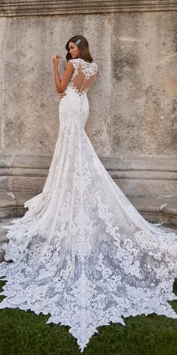moonlight wedding dresses lace with train tattoo effect back