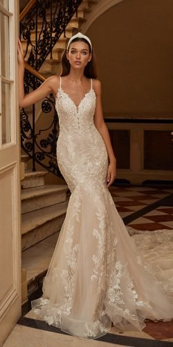 moonlight wedding dresses mermaid with spaghetti straps sweetheart neckline lace sexy
