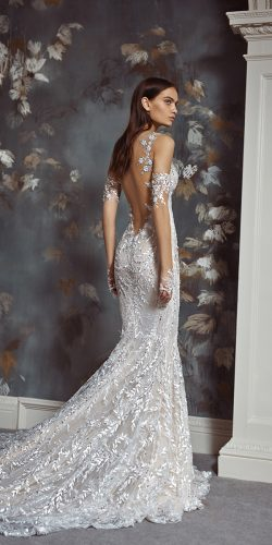 tattoo effect wedding dresses sheath open back floral appliques beach sexy galia lahav