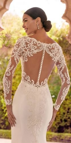 tattoo effect wedding dresses with sleeves illusion lace with buttons demetrios