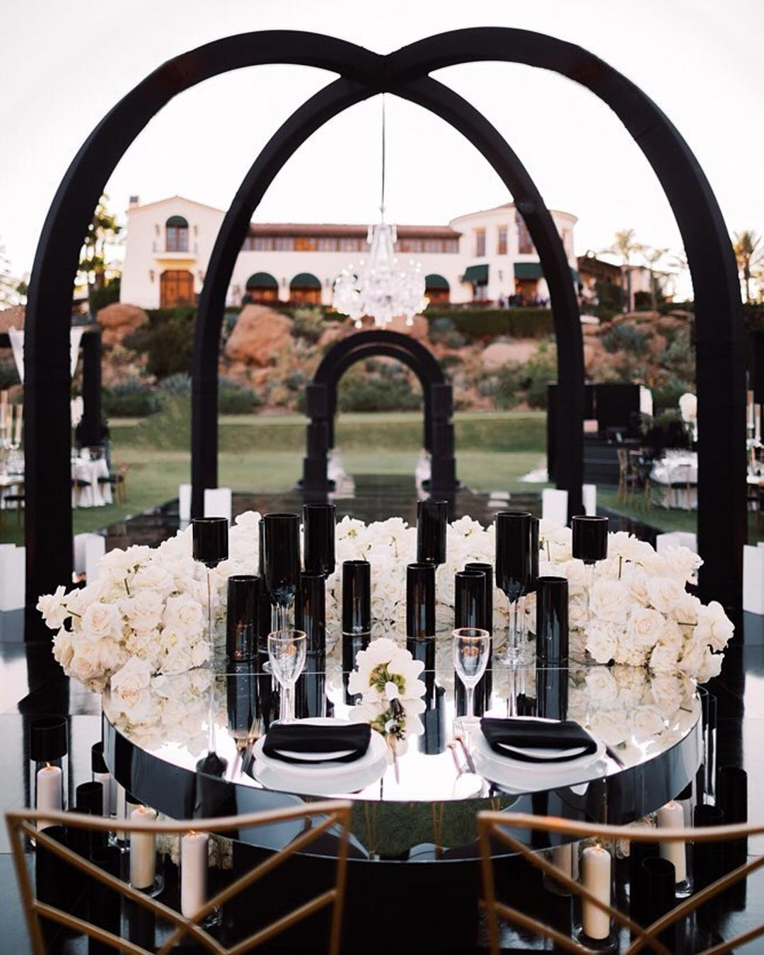 wedding colors black white arch