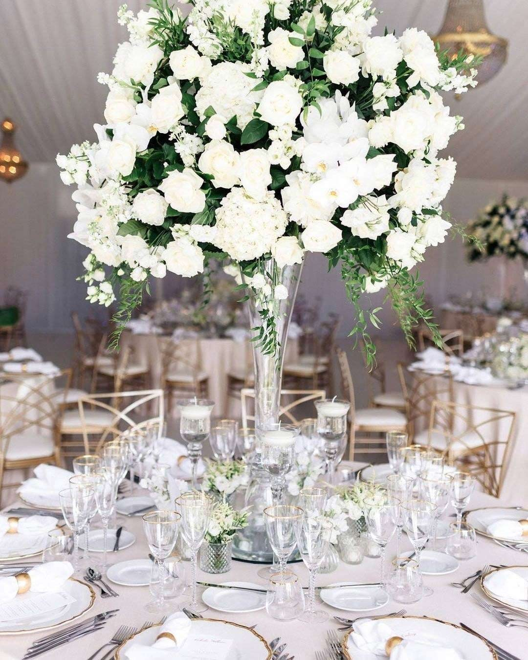 wedding colors white forest green gold flowers centerpiece