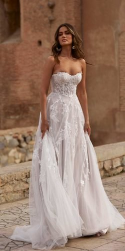 wedding dress designers a line sweetheart strapless neckline beach madi lane
