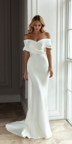 wedding dress designers off the shoulder sheath simple eva lendel