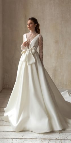 wedding dress designers princess with long sleeves lace with bow simple eva lendel