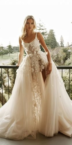 wedding dress designers with overskirt floral appliques square neckline pallas couture