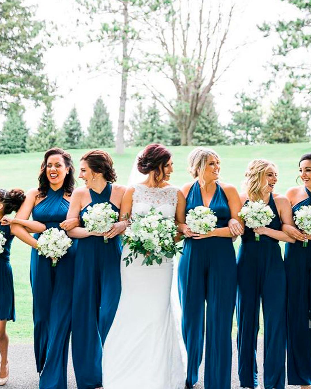 blue and white wedding colors bridesmaids attire dress