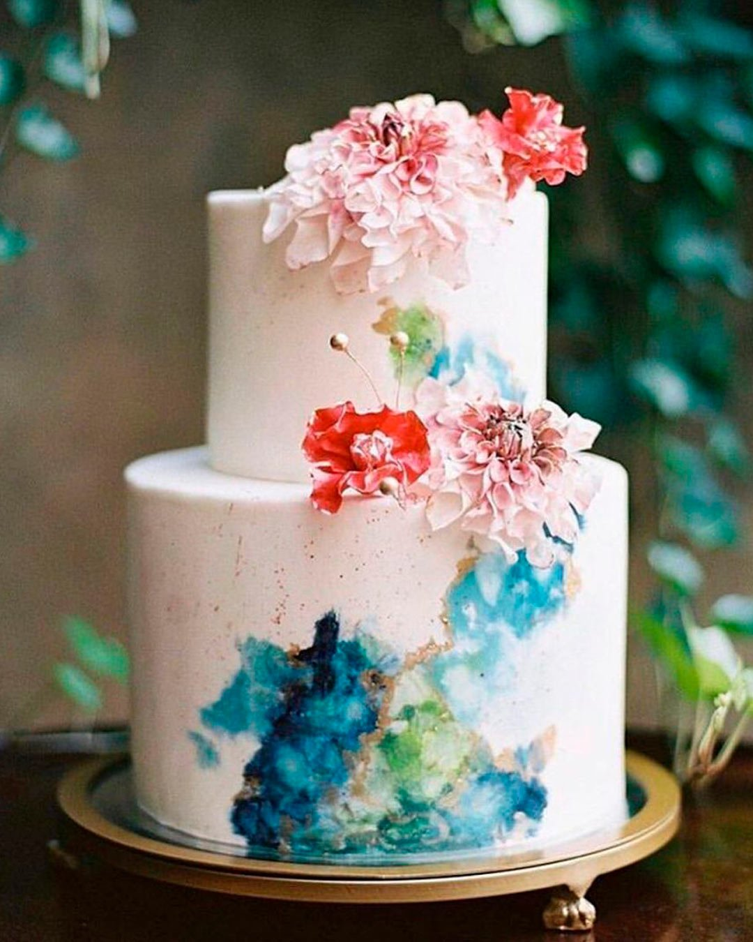 blue and white wedding colors cake flowers