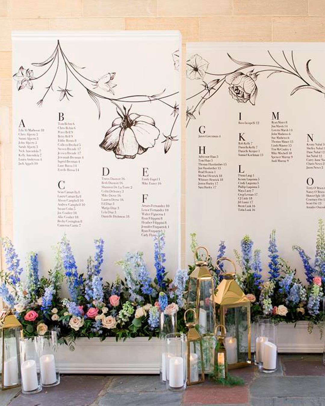 blue and white wedding colors flowers decor setting chart