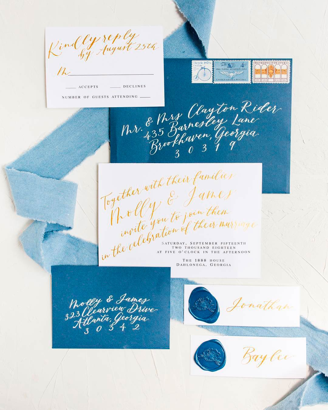 blue and white wedding colors invitations rsvp card