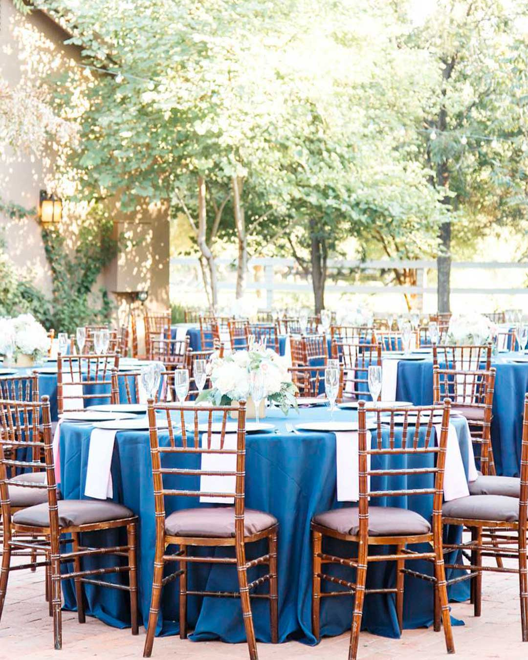 blue and white wedding colors table setting