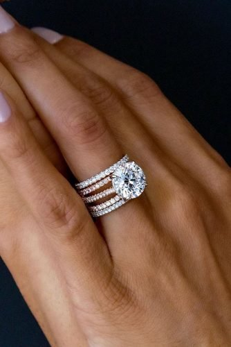 diamond wedding rings round cut rings bridal sets white gold