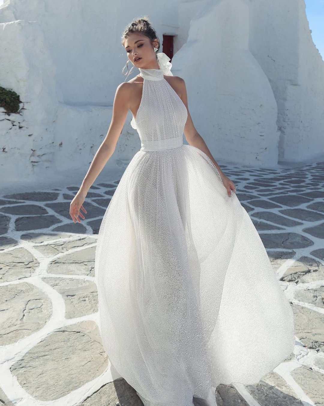 greek wedding dresses a line simple halter neckline beach julie vino