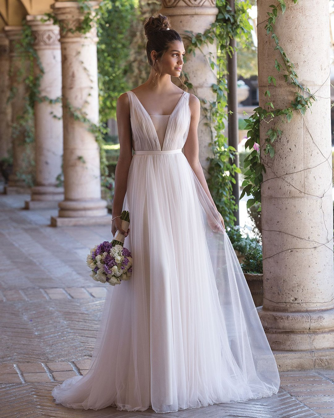 greek wedding dresses a line simple v neckline justin alexander