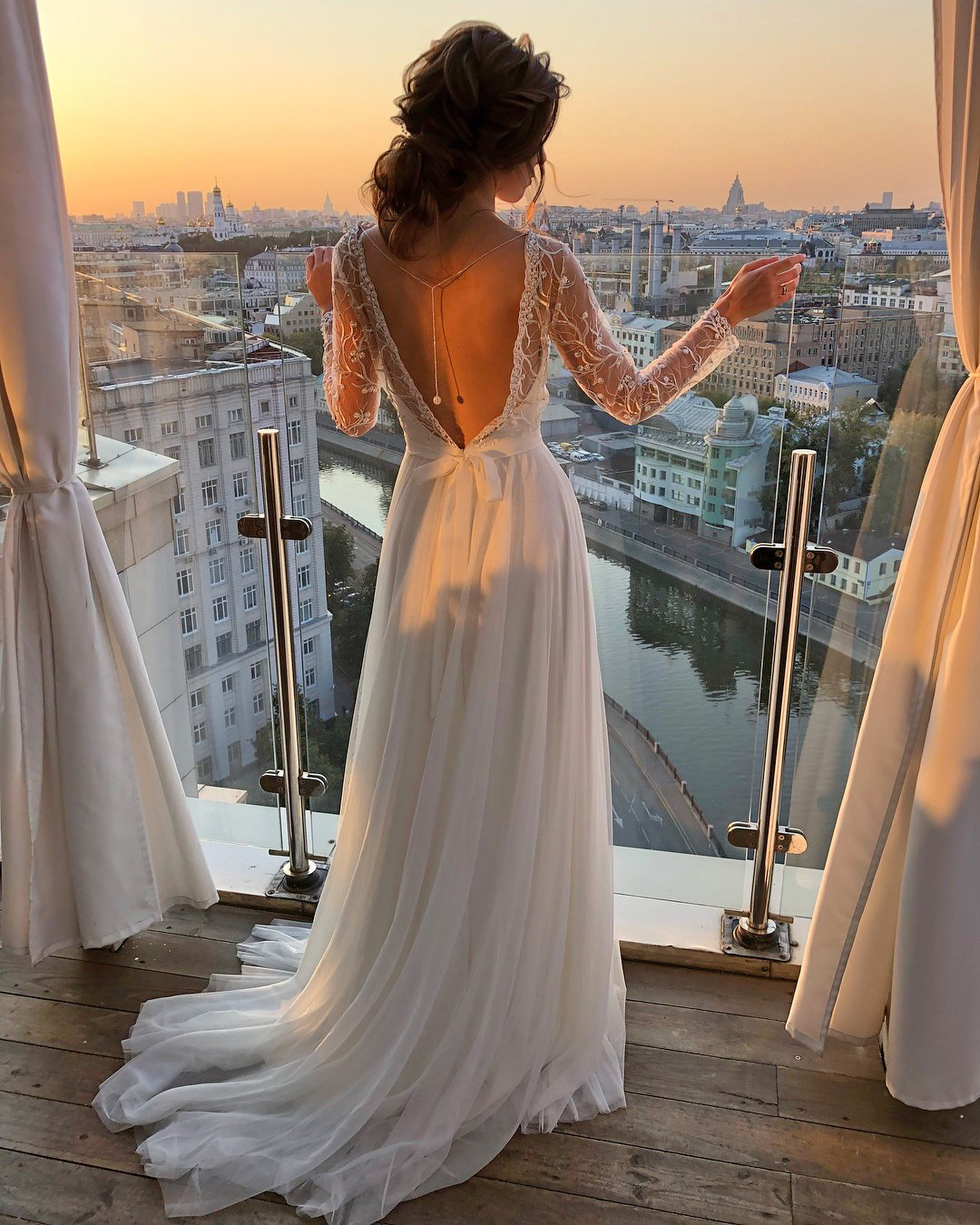 greek wedding dresses a line with illusion long sleeves v back ideal moscow