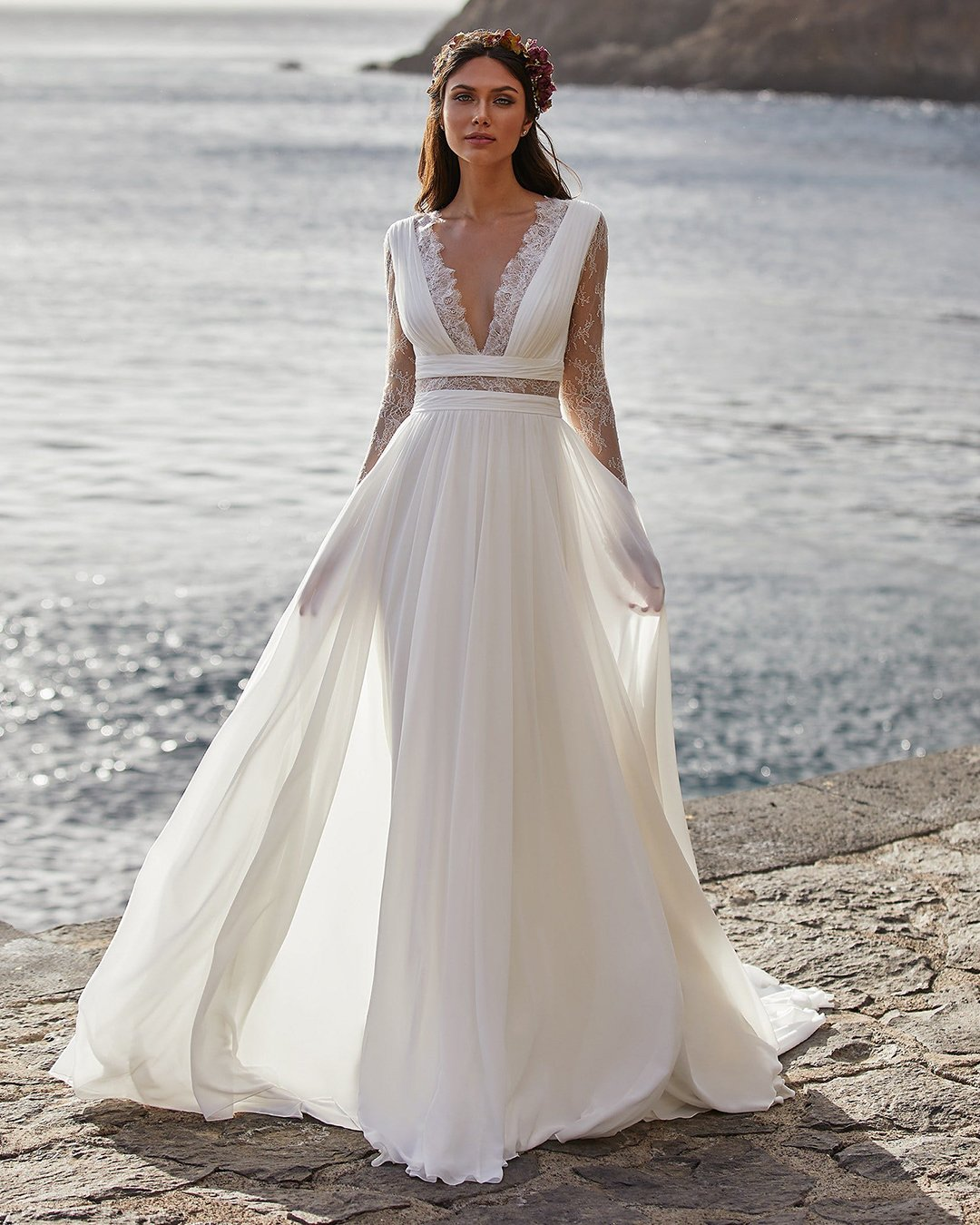 greek wedding dresses a line with long sleeves lace v neckline pronovias
