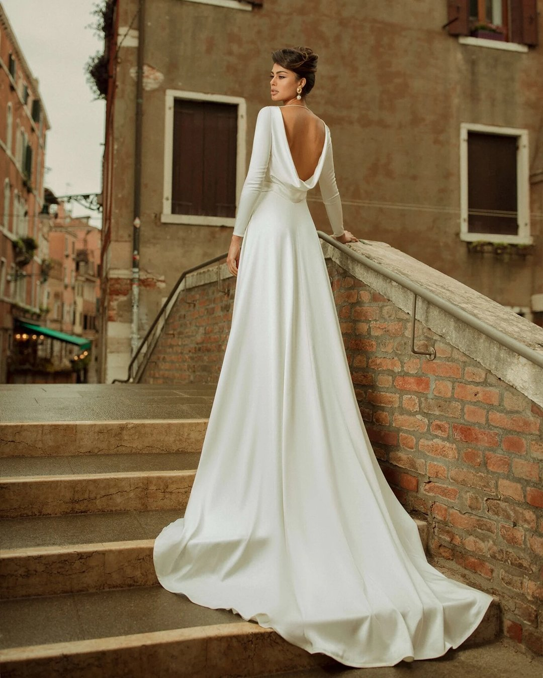 greek wedding dresses a line with long sleeves simple low back rara avis