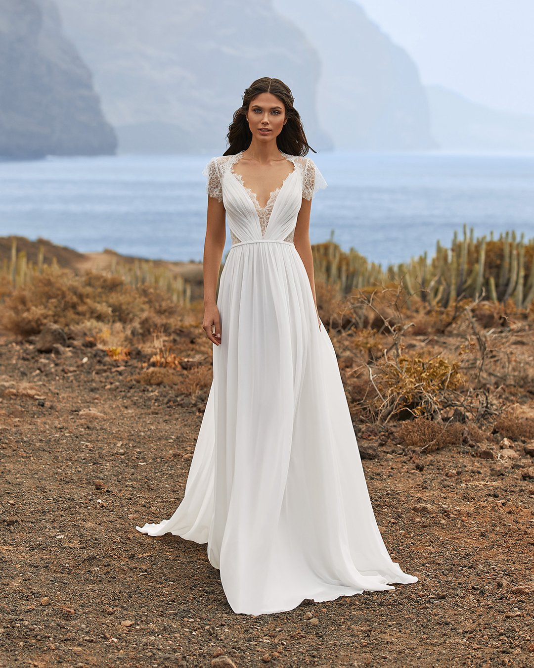 greek wedding dresses empire with cap sleeves lace pronovias