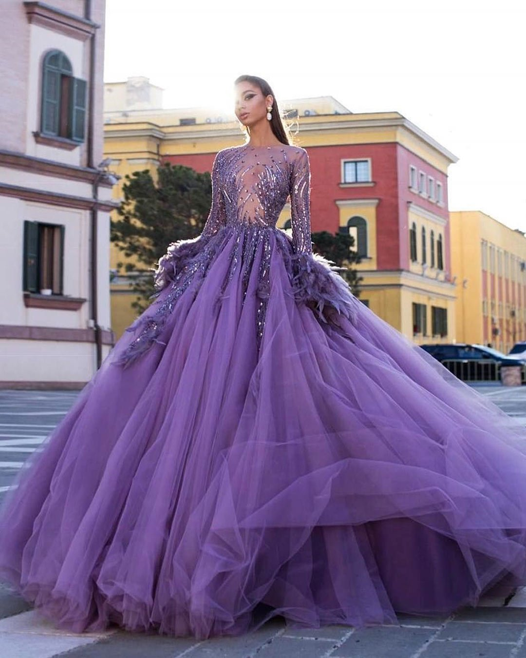 lilac wedding colors ball gown feathur