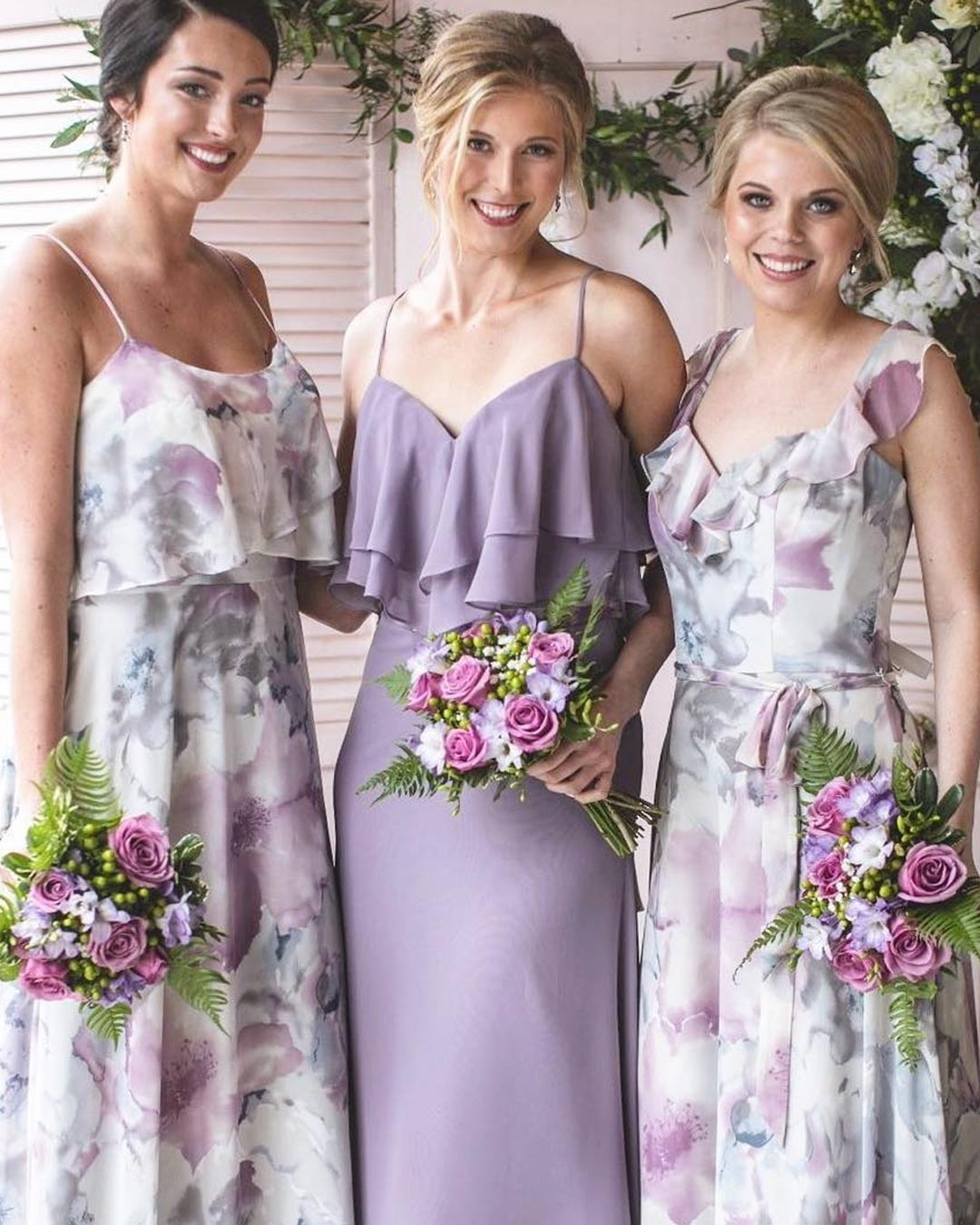 lilac wedding colors bridesmaids attire dress