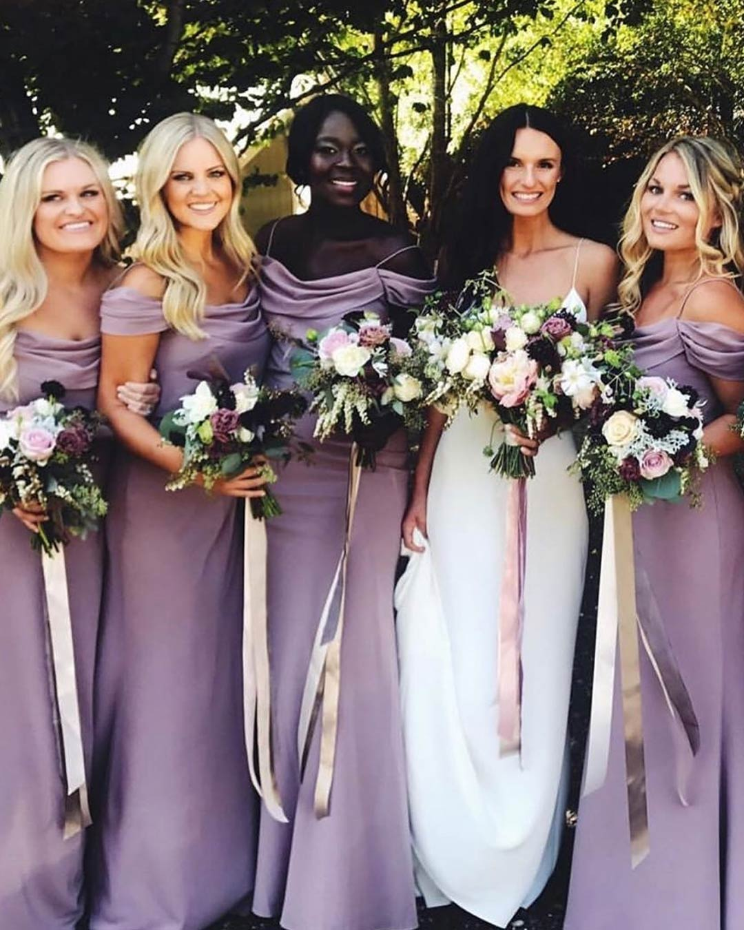 lilac wedding colors bridesmaids dresses attire bouquets