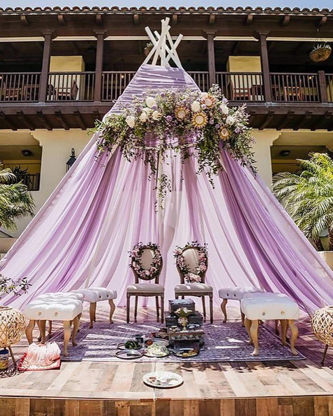 lilac wedding colors canopy outdoor decor