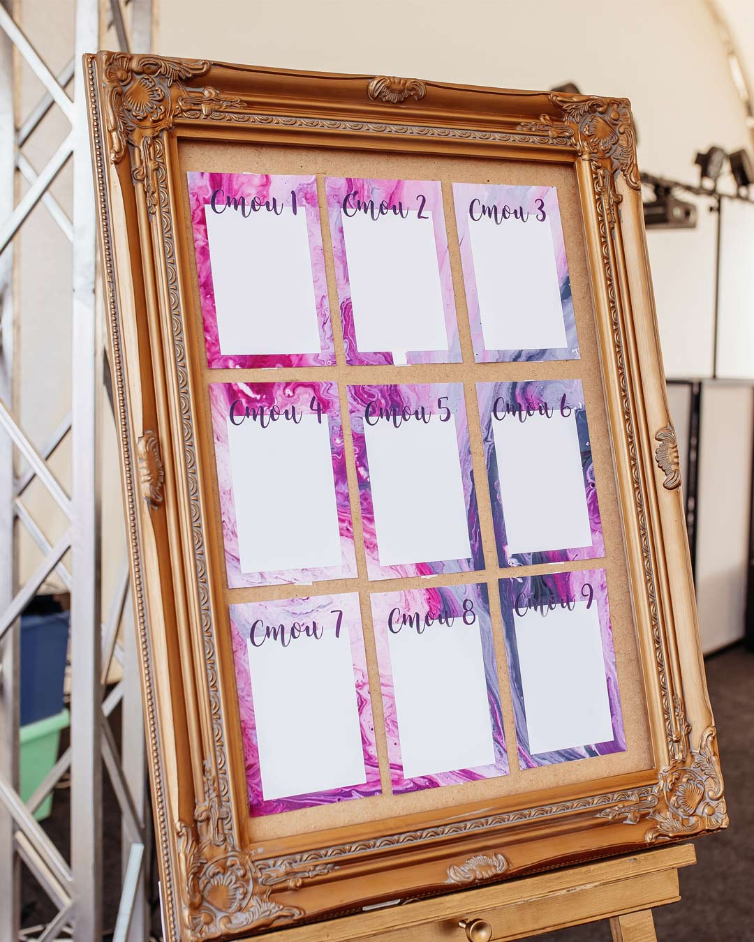 lilac wedding colors decor setting chart frame
