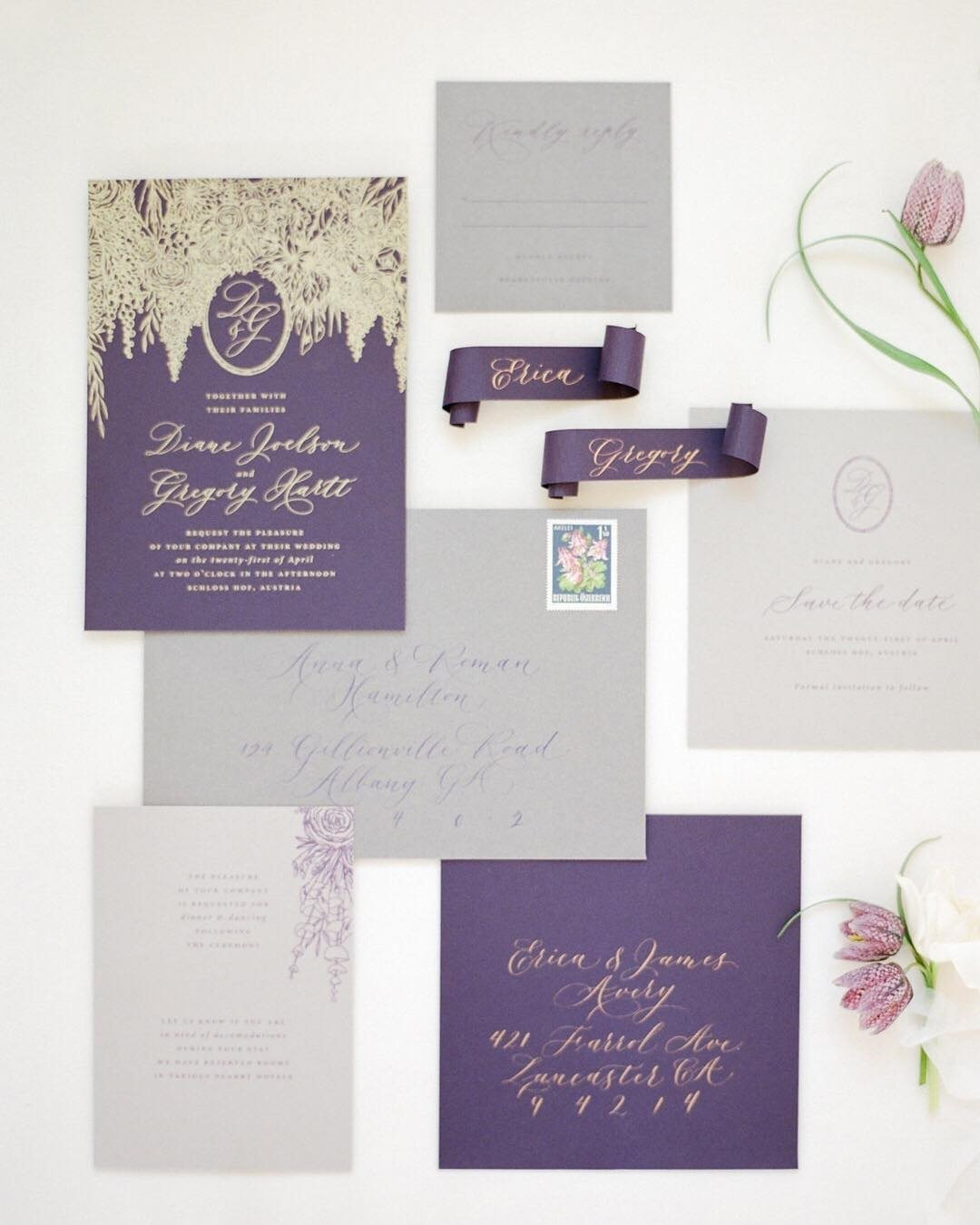 lilac wedding colors invitation stationery