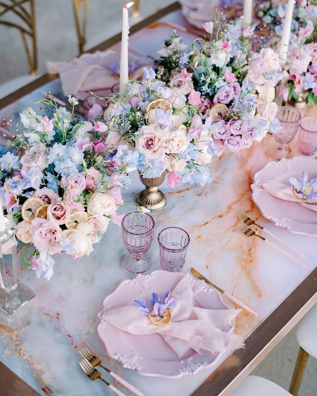 lilac wedding colors reception table