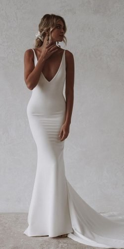 mermaid wedding dresses simple sexy deep v neckline with straps made with love
