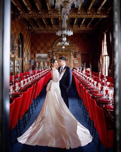 red white wedding colors bride groom venue