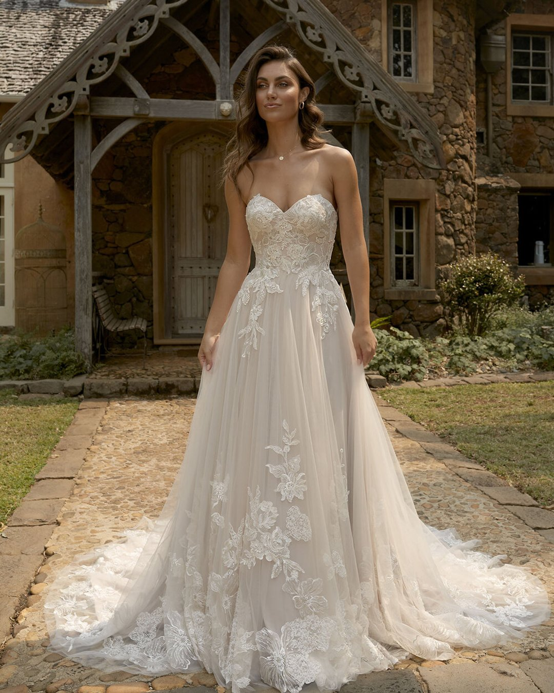 best wedding dresses a line sweetheart neckline strapless lace madi lane