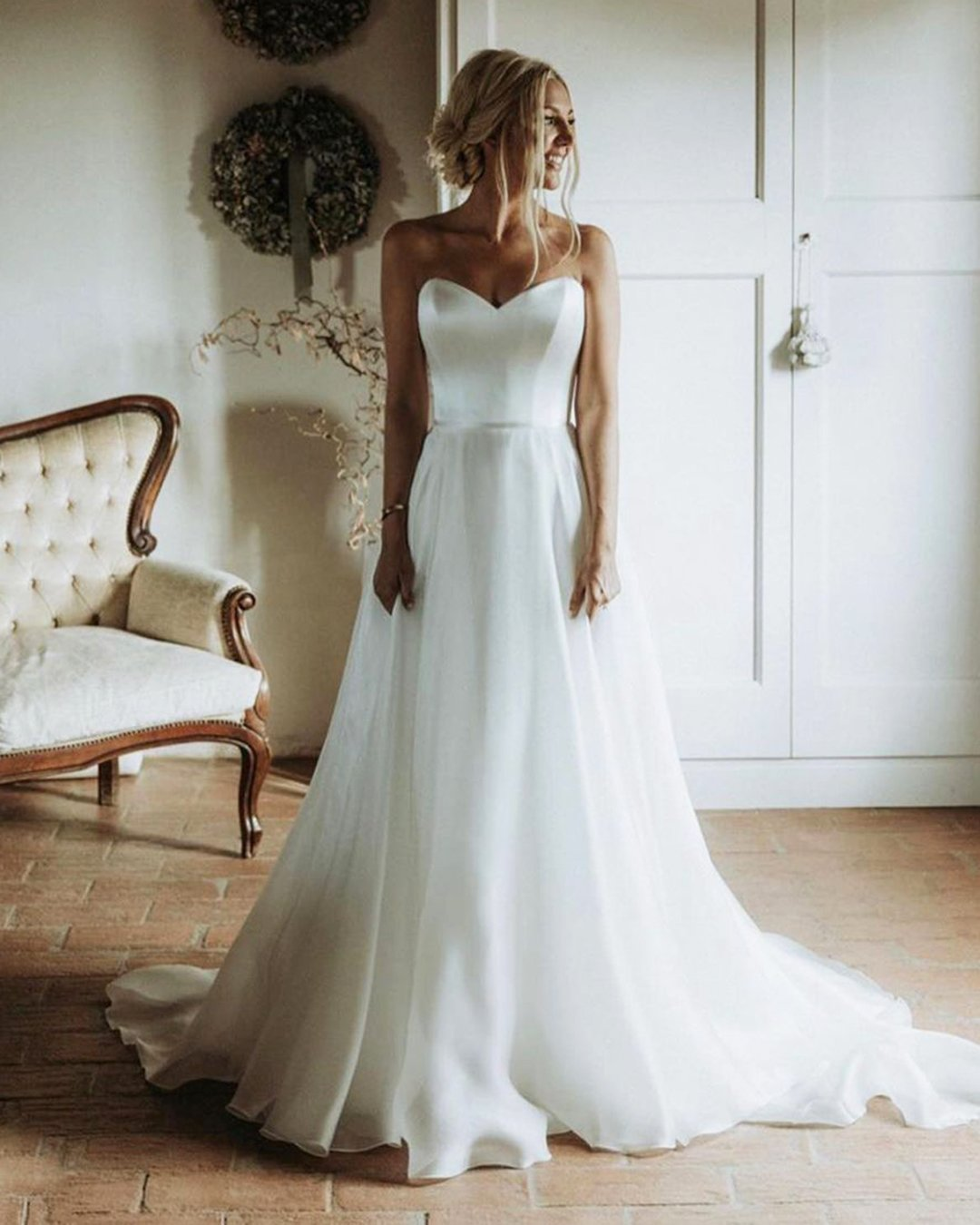 best wedding dresses a line sweetheart strapless neckline simple suzanneneville