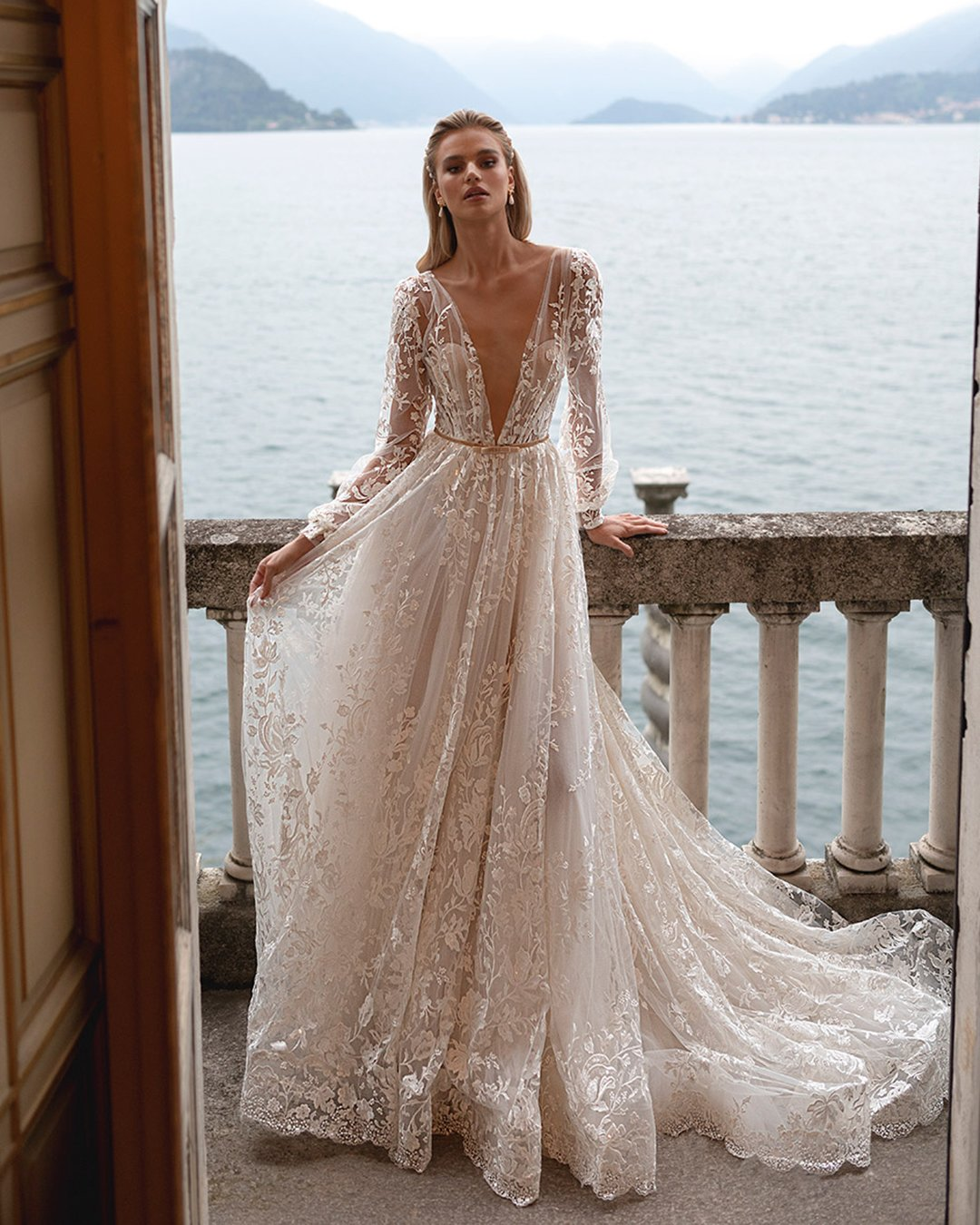 best wedding dresses a line with illusion long sleeves lace julie vino