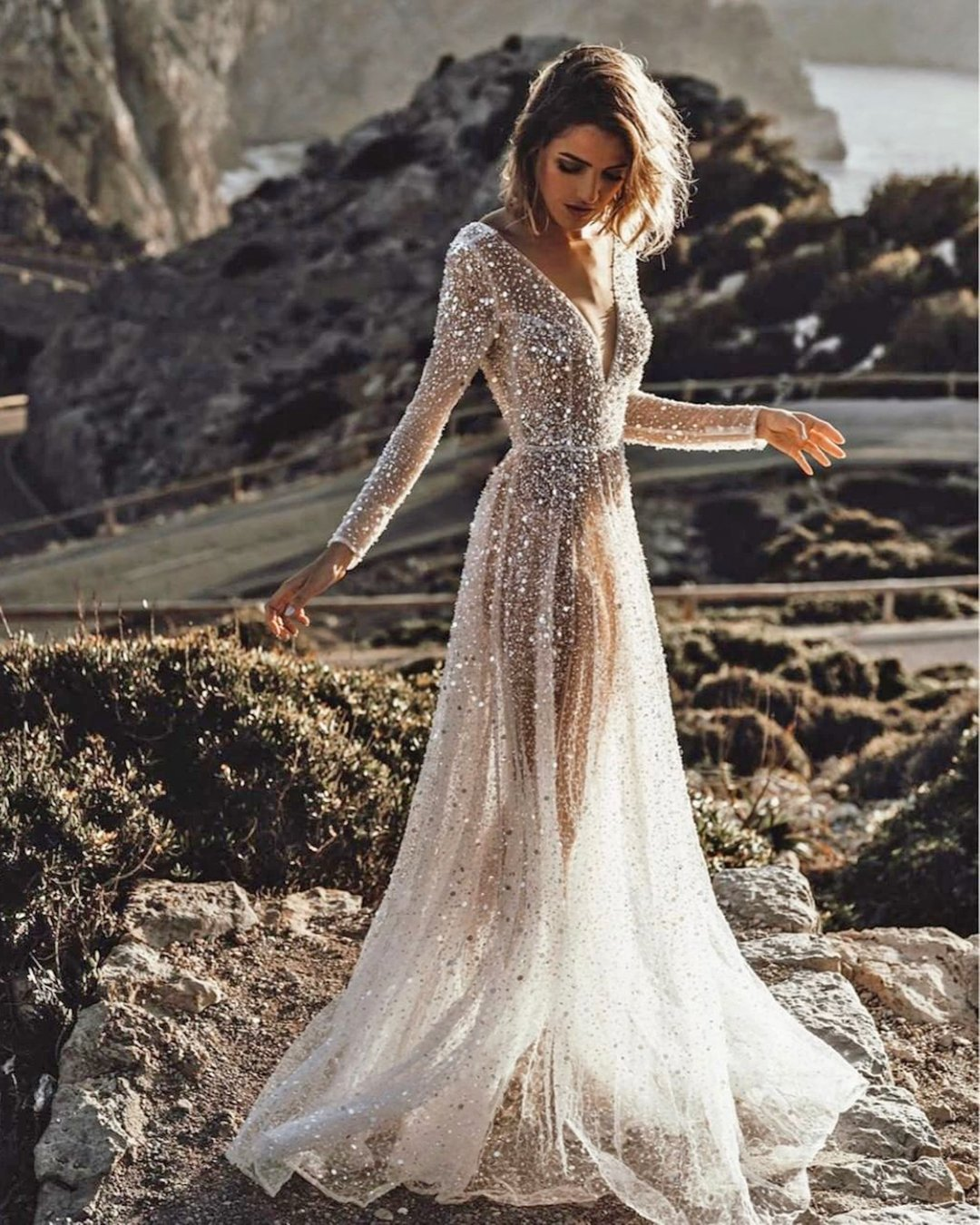 best wedding dresses a line with long sleeves v neckline sequins chosenbykyha