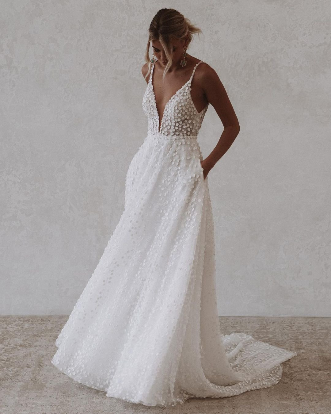 best wedding dresses a line with spaghetti straps beach madewithlovebridal