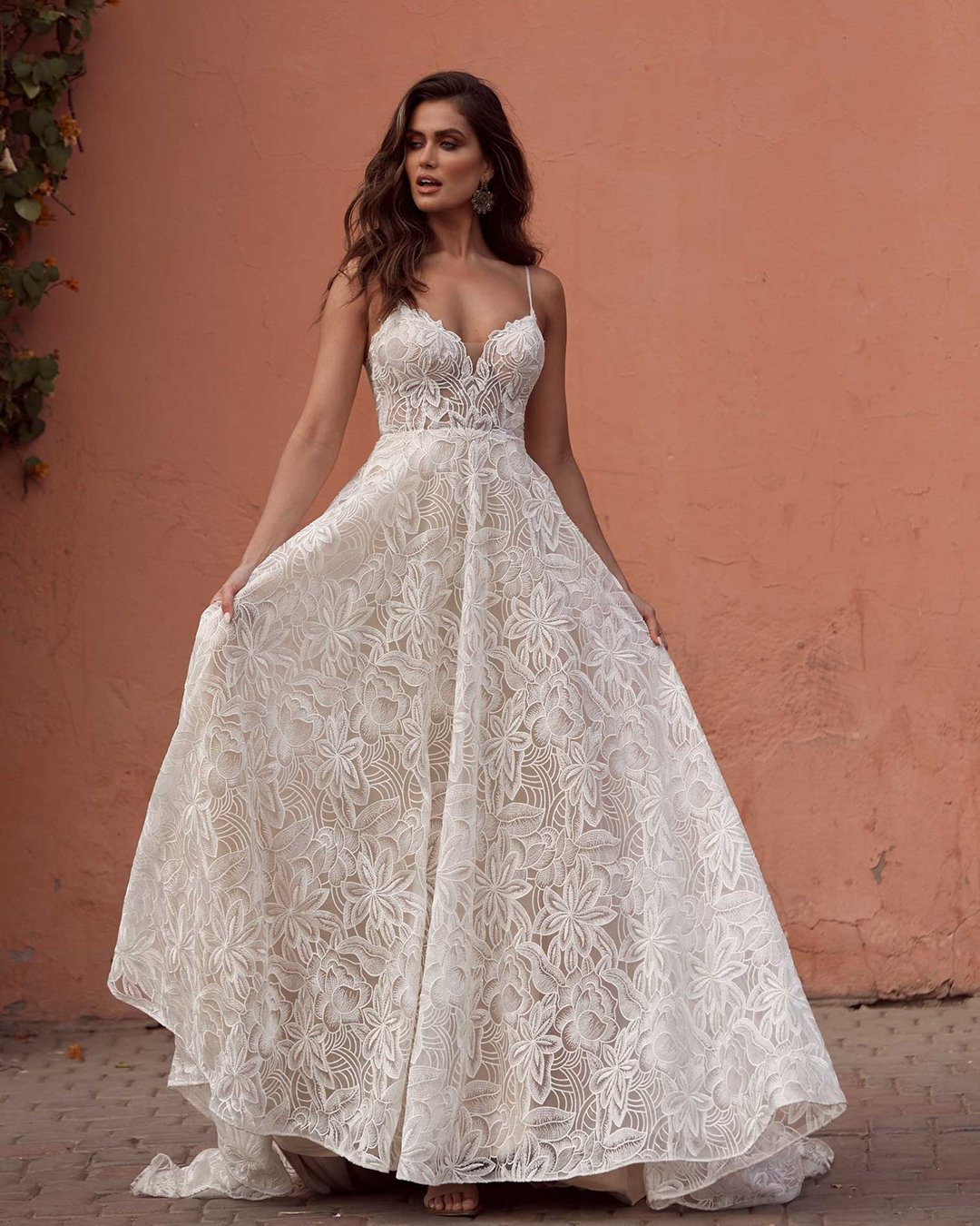 best wedding dresses a line with spaghetti straps summer beach lace madilane