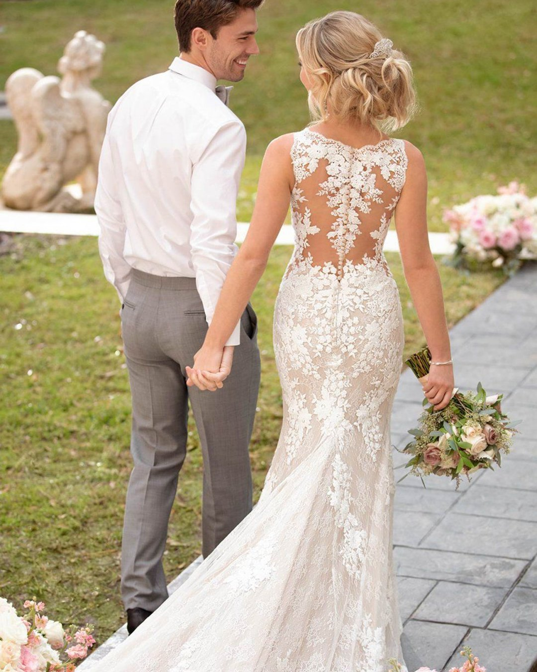 best wedding dresses fit and flare lace tattoo effect back with train stella york
